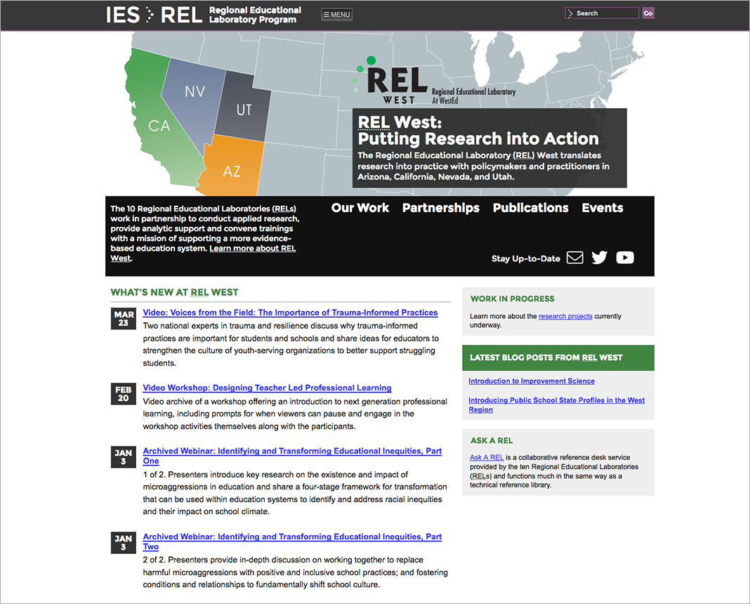 screenshot of https://ies.ed.gov/ncee/edlabs/regions/west/