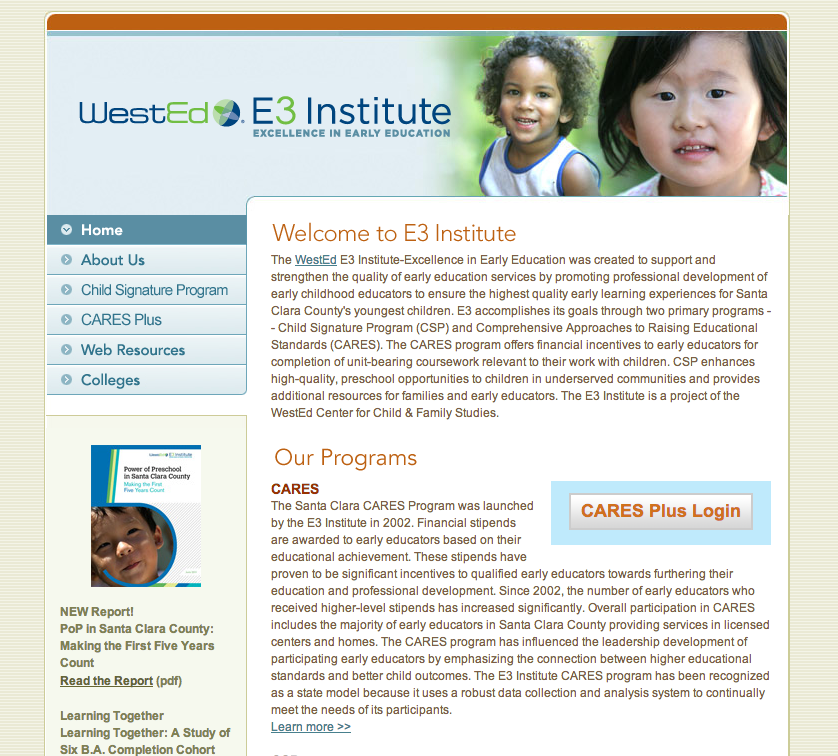 screenshot of https://www.e3institute.org
