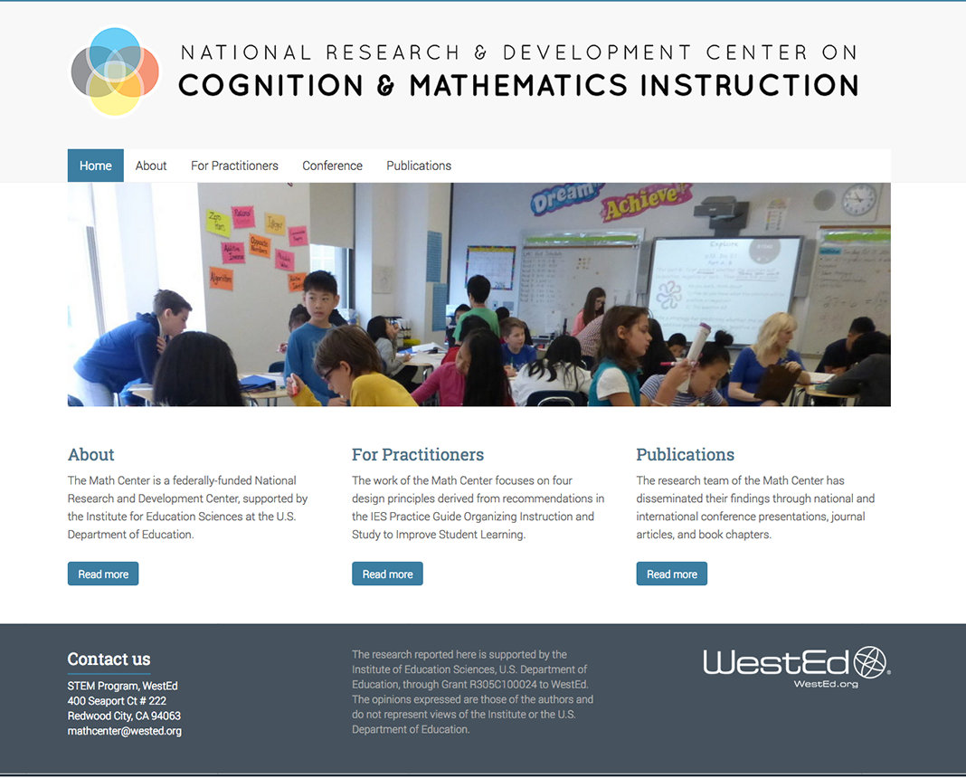 screenshot of https://www.iesmathcenter.org