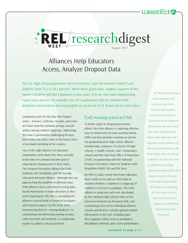 Cover Graphic of REL West Digest August 2013