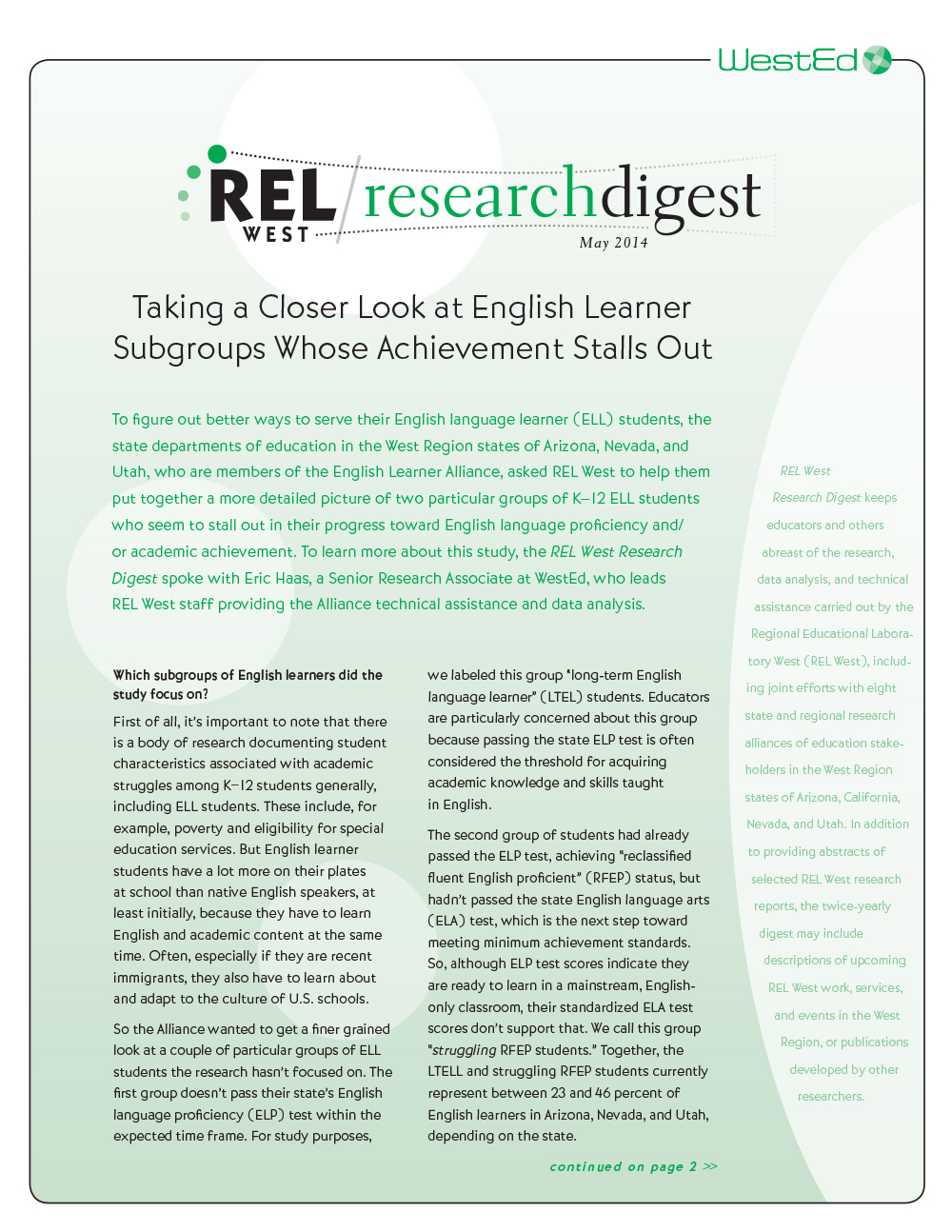 Cover image for REL West Research Digest #12 May 2014