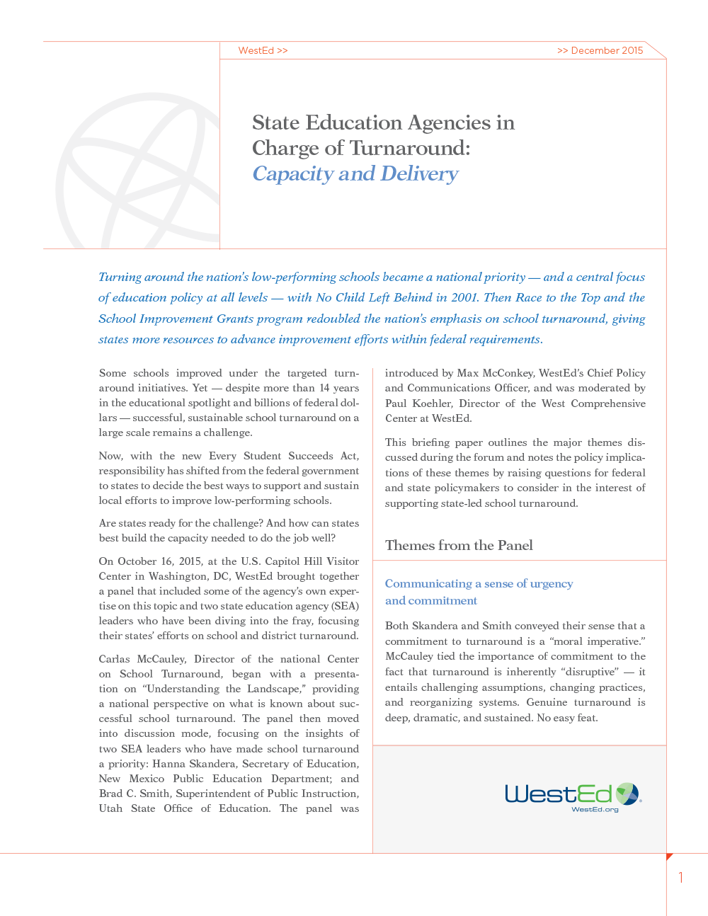 Cover for State Education Agencies in Charge of Turnaround: Capacity and Delivery