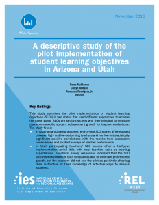 Cover for A Descriptive Study of the Pilot Implementation of Student Learning Objectives in Arizona and Utah