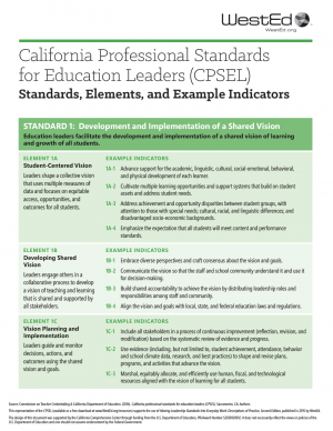 Cover for California Professional Standards for Educational Leaders (CPSEL)