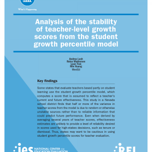 Cover for Analysis of the Stability of Teacher-Level Growth Scores From the Student Growth Percentile Model