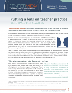 CenterView: Putting a Lens on Teacher Practice: Video-Based Peer Coaching