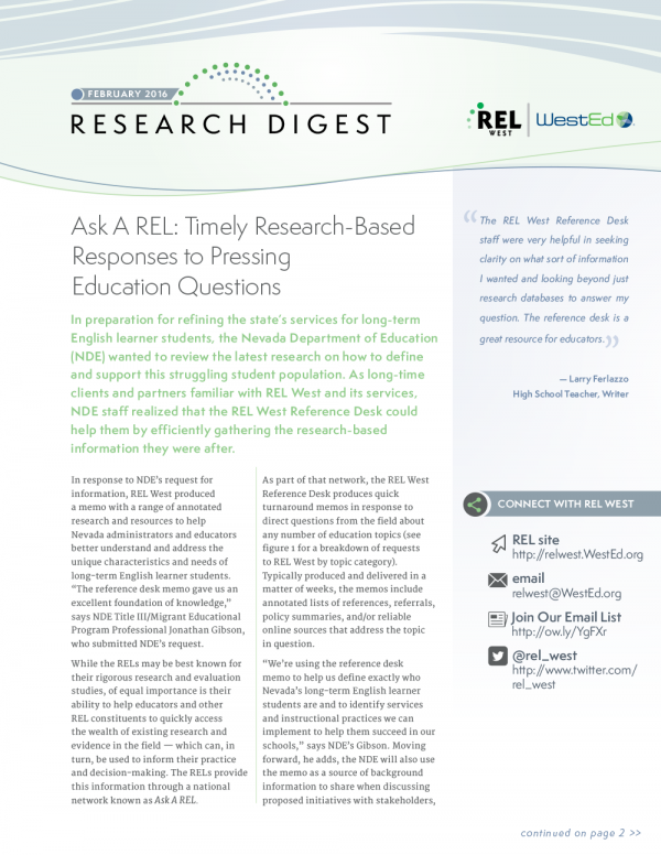 REL West Research Digest: February 2016