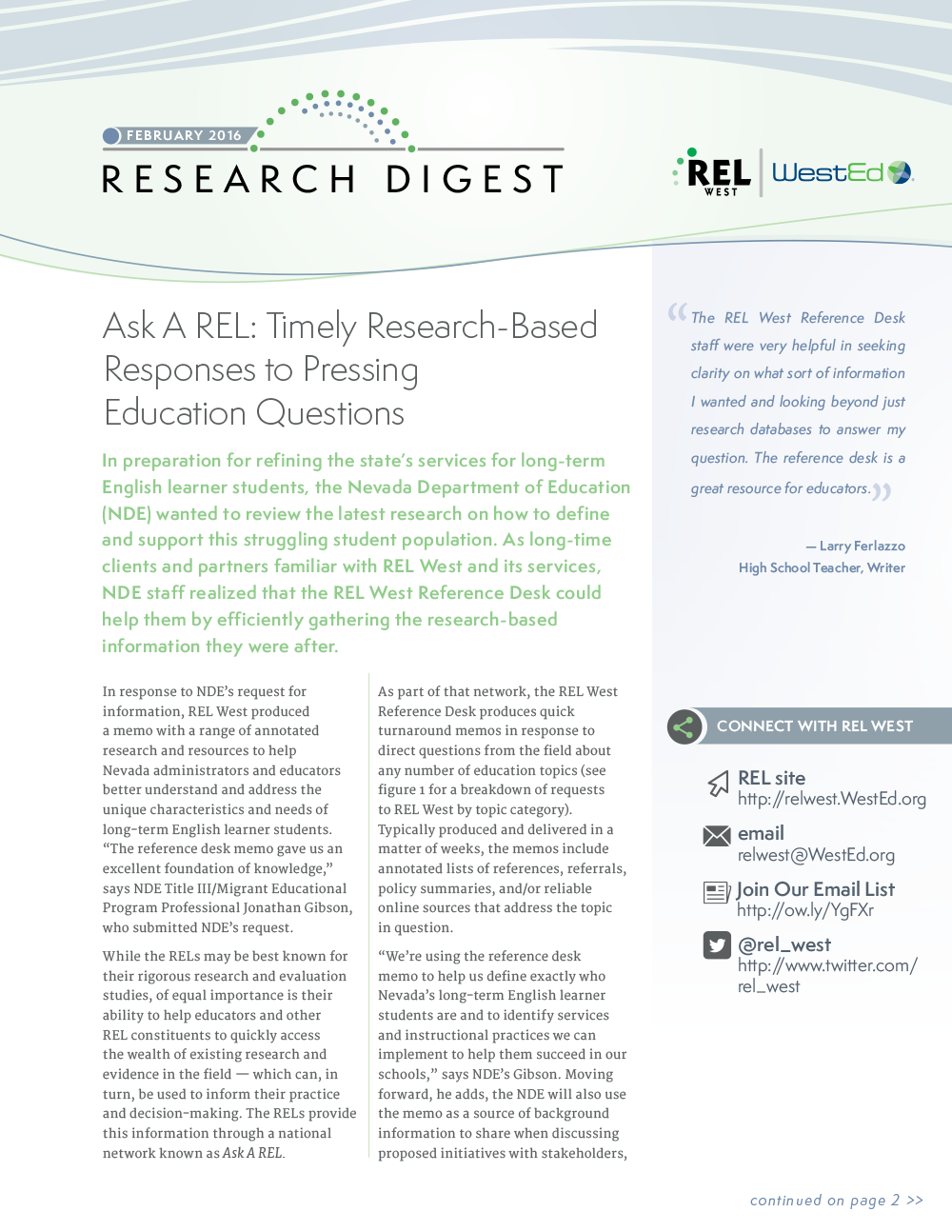 rel west research digest: february 2016 — wested