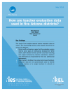 Cover, How Are Teacher Evaluation Data Used in Five Arizona Districts?
