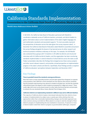 Cover Survey Results in Brief: WestEd Presentation to the California State Board of Education (March 2016)