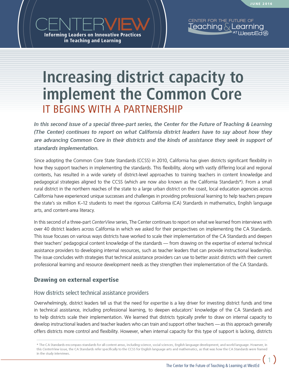 Cover CenterView: Increasing District Capacity to Implement the Common Core — It Begins With a Partnership