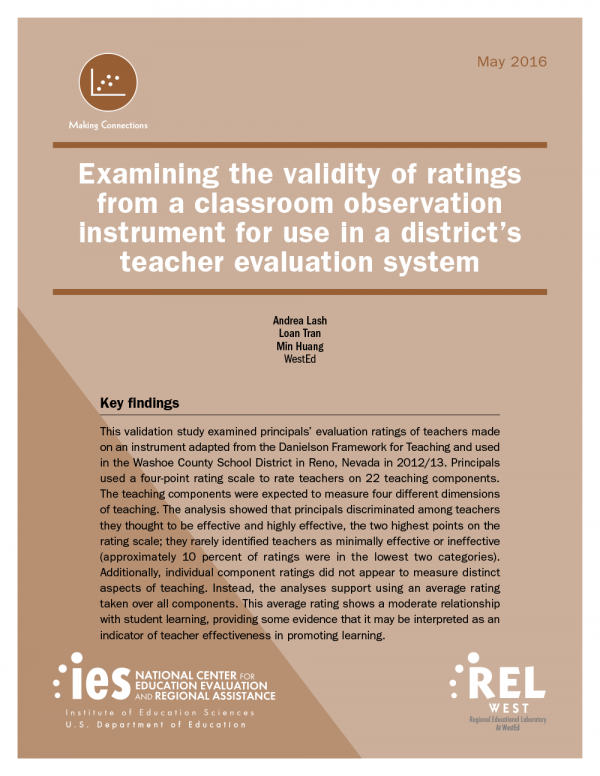 Cover Examining the Validity of Ratings From A Classroom Observation Instrument for Use in A District's Teacher Evaluation System