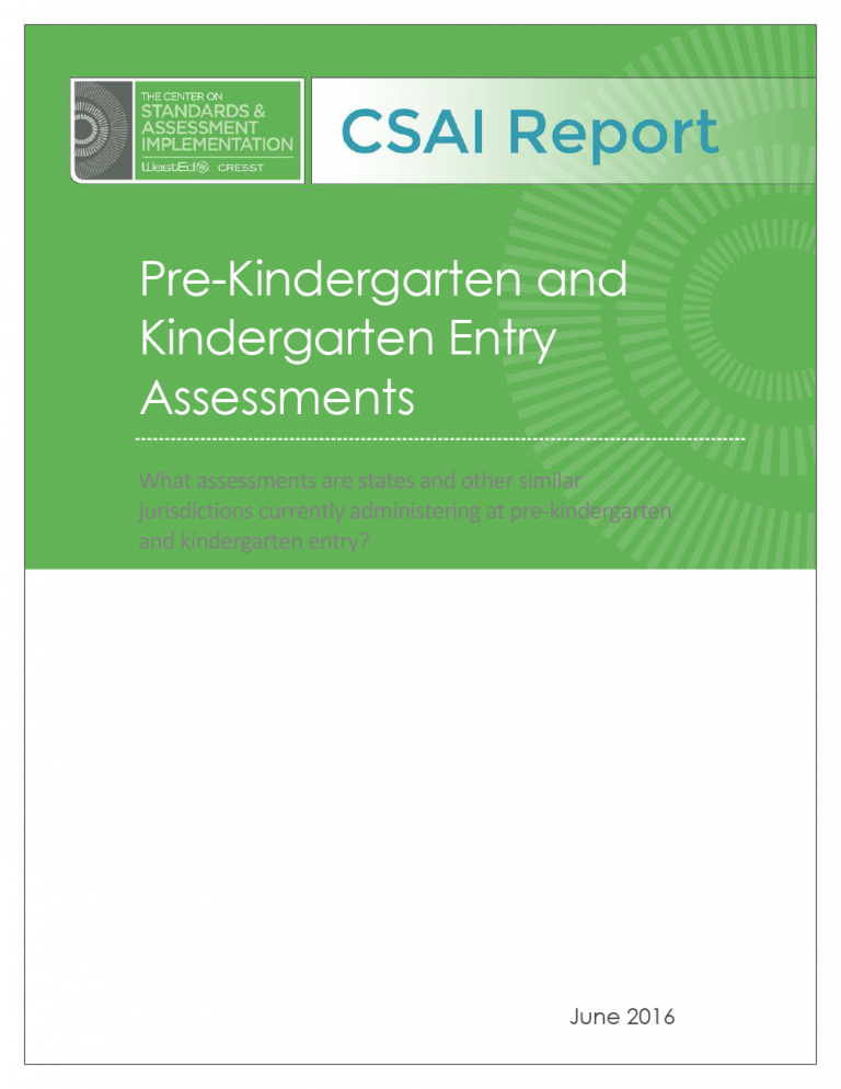 Cover Pre-Kindergarten and Kindergarten Assessments