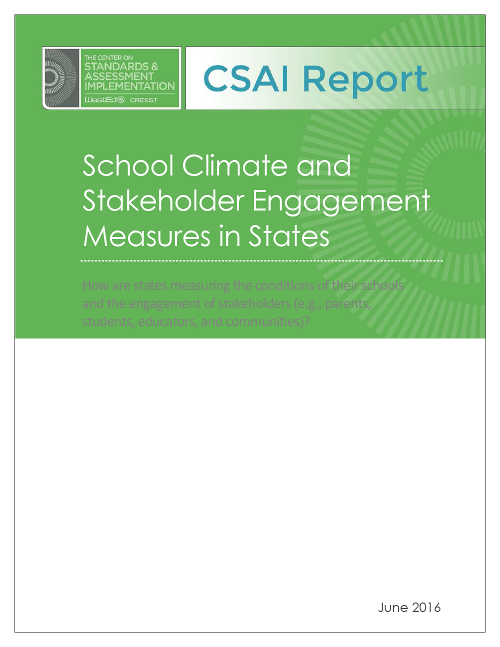 Cover School Climate and Stakeholder Engagement Measures in States