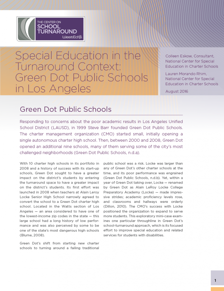 Cover for Special Education in the Turnaround Context: Green Dot Public Schools in Los Angeles