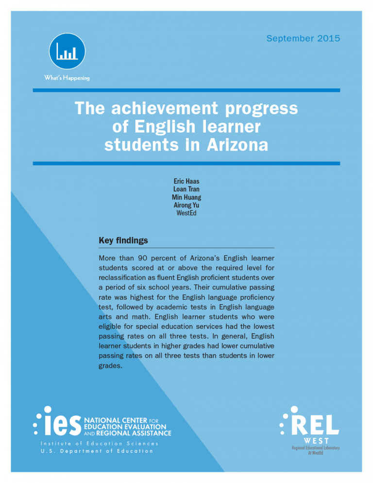 Cover for The Achievement Progress of English Learner Students in Arizona