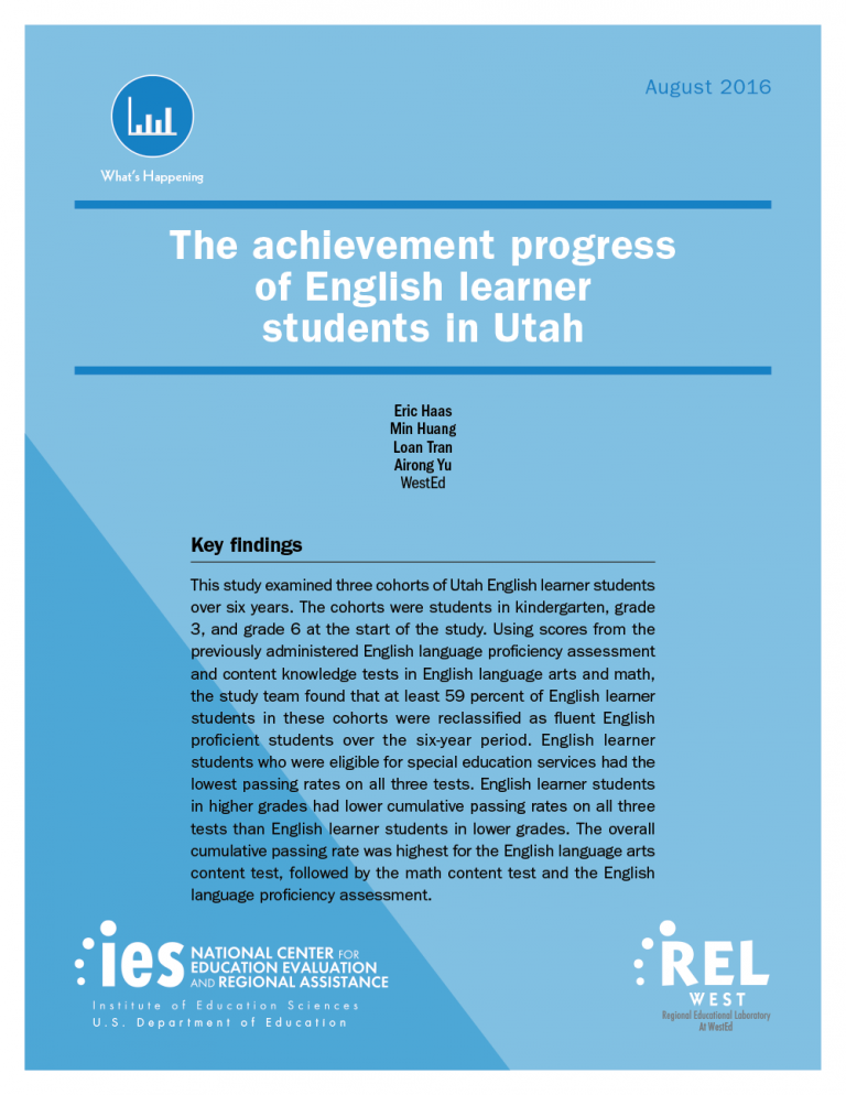 Cover The Achievement Progress of English Learner Students in Utah