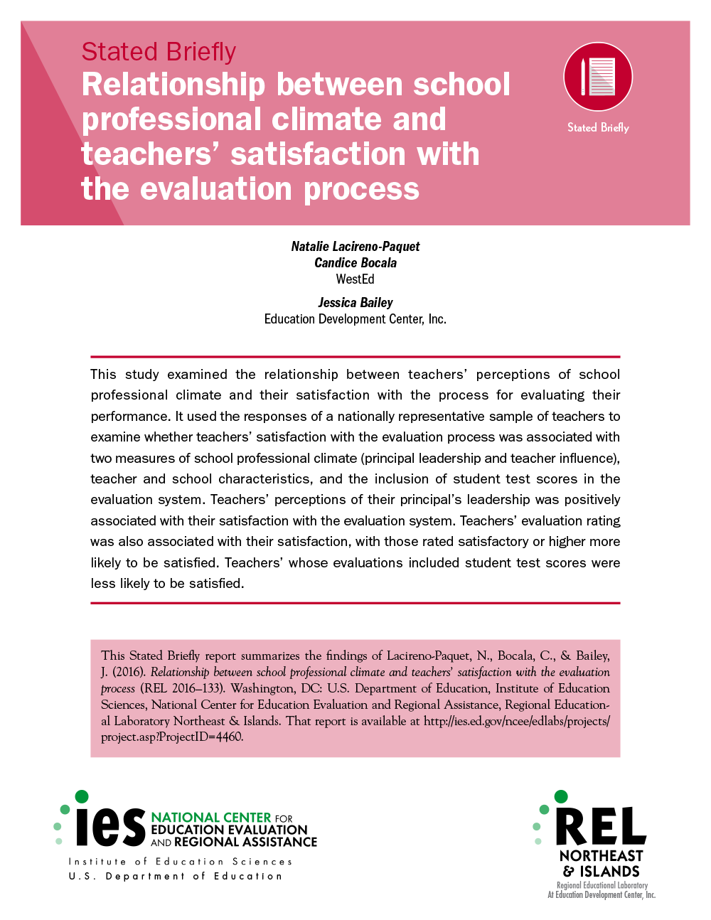 Cover for Relationship Between School Professional Climate and Teachers' Satisfaction with the Evaluation Process