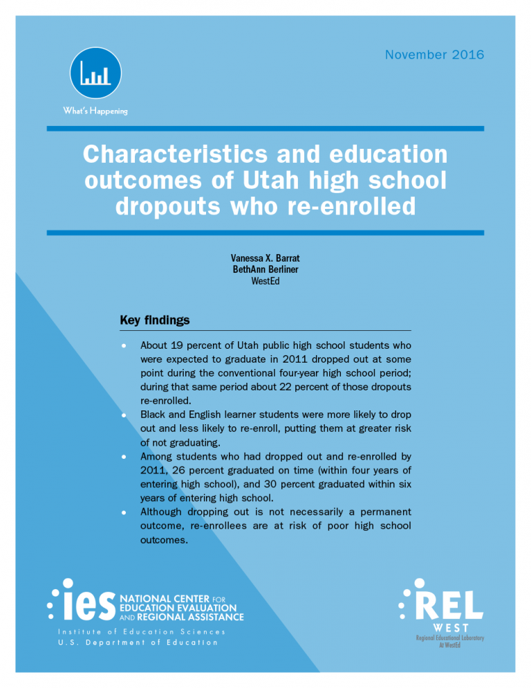 Cover for Characteristics and Education Outcomes of Utah High School Dropouts Who Re-Enrolled