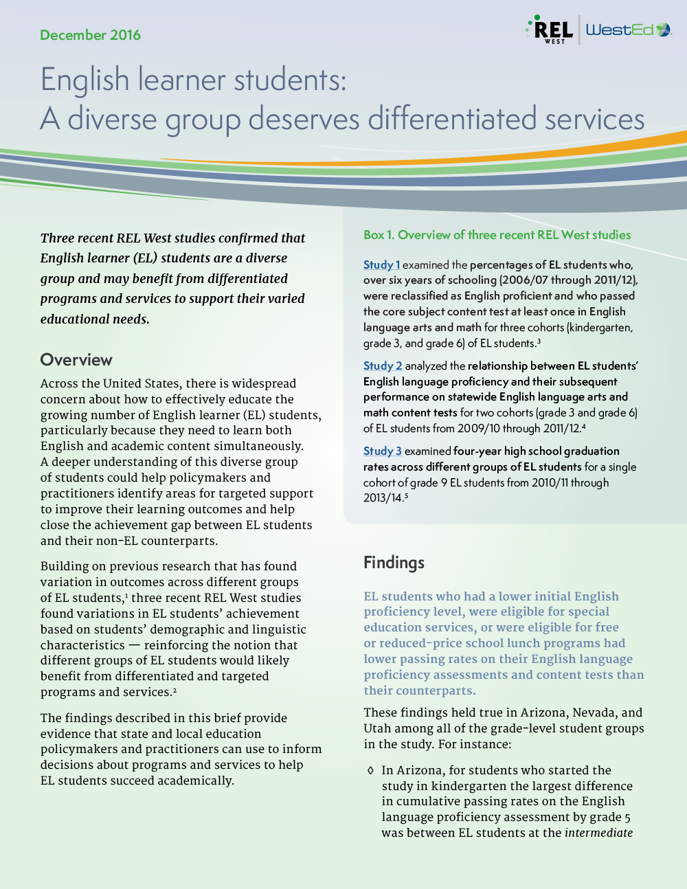 Cover for English Learner Students: A Diverse Group Deserves Differentiated Services