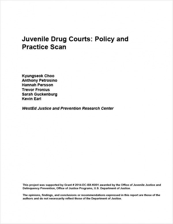 Juvenile Drug Courts: Policy and Practice Scan