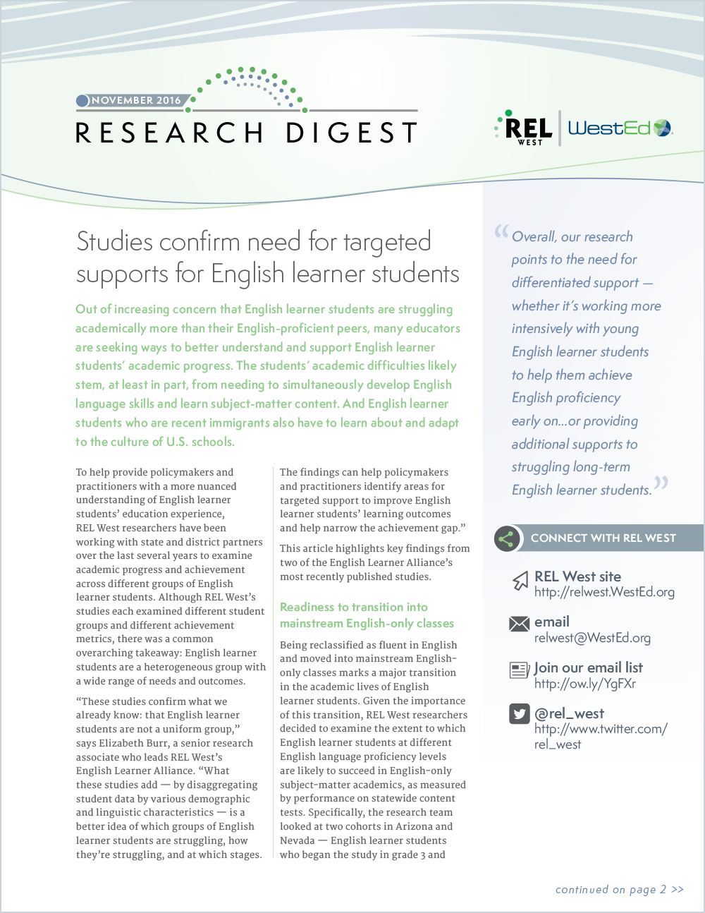 Cover for Research Digest: Studies Confirm Need for Targeted Supports for English Learner Students