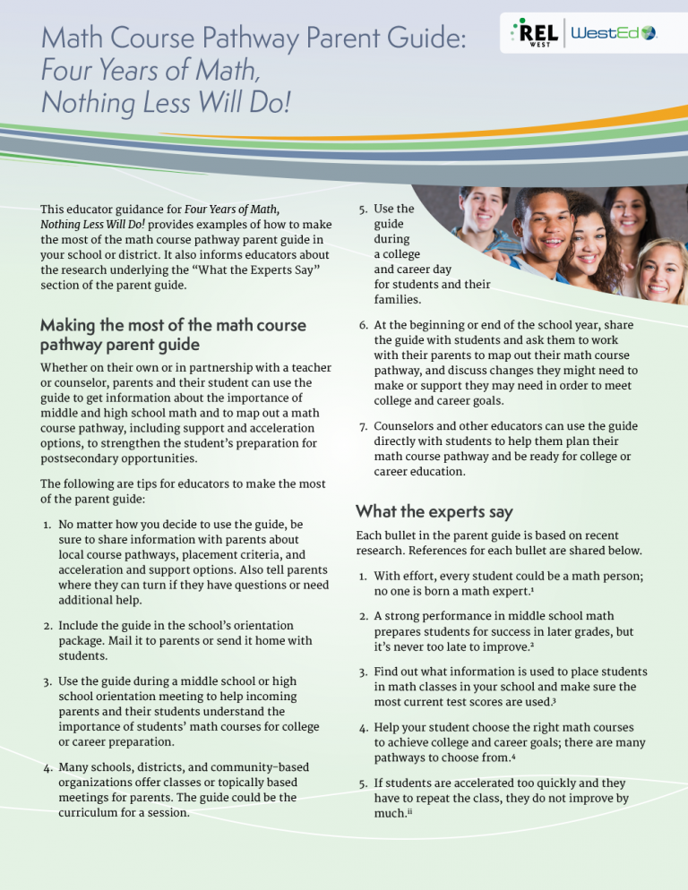 Math Course Pathway Companion Sheet for Teachers and School Counselors