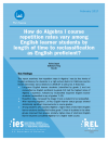 How do Algebra I course repetition rates vary among English learner students by length of time to reclassification as English proficient?
