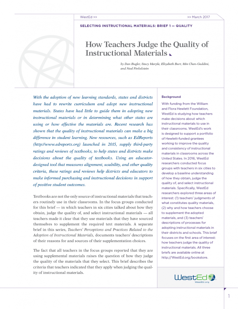 Selecting Instructional Materials, Brief 1 - Quality