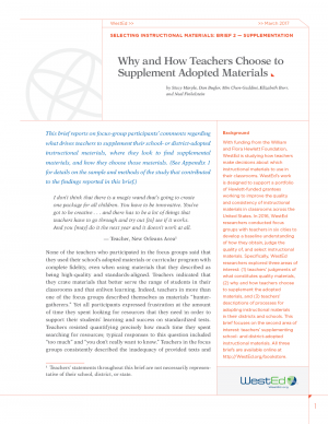 Selecting Instructional Materials, Brief 2 - Supplementation