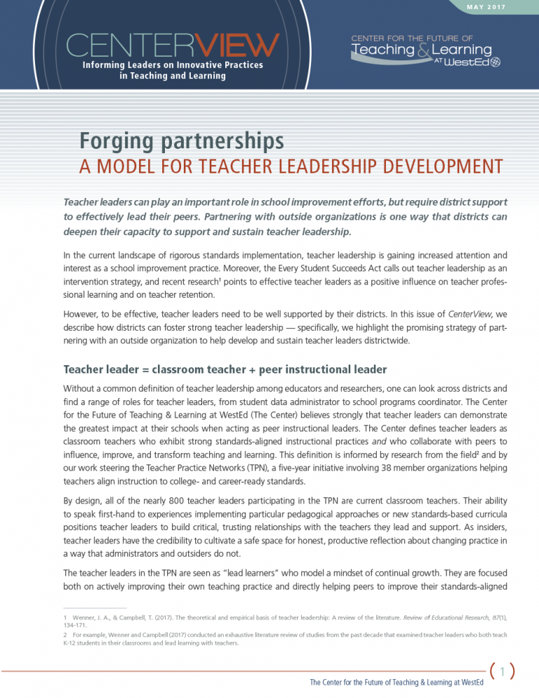 CenterView: Forging Partnerships — A Model for Teacher Leadership Development