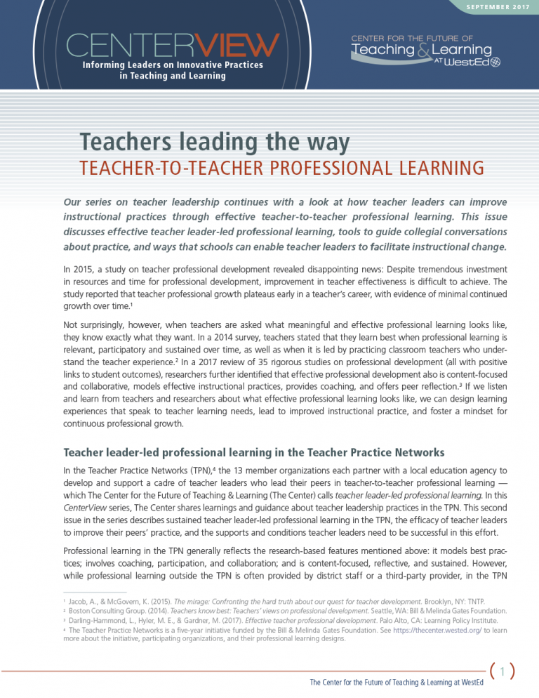 CenterView: Teachers Leading the Way – Teacher-to-Teacher Professional Learning