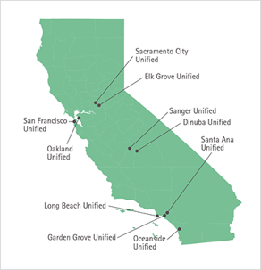 map of california highlighting 10 school districts