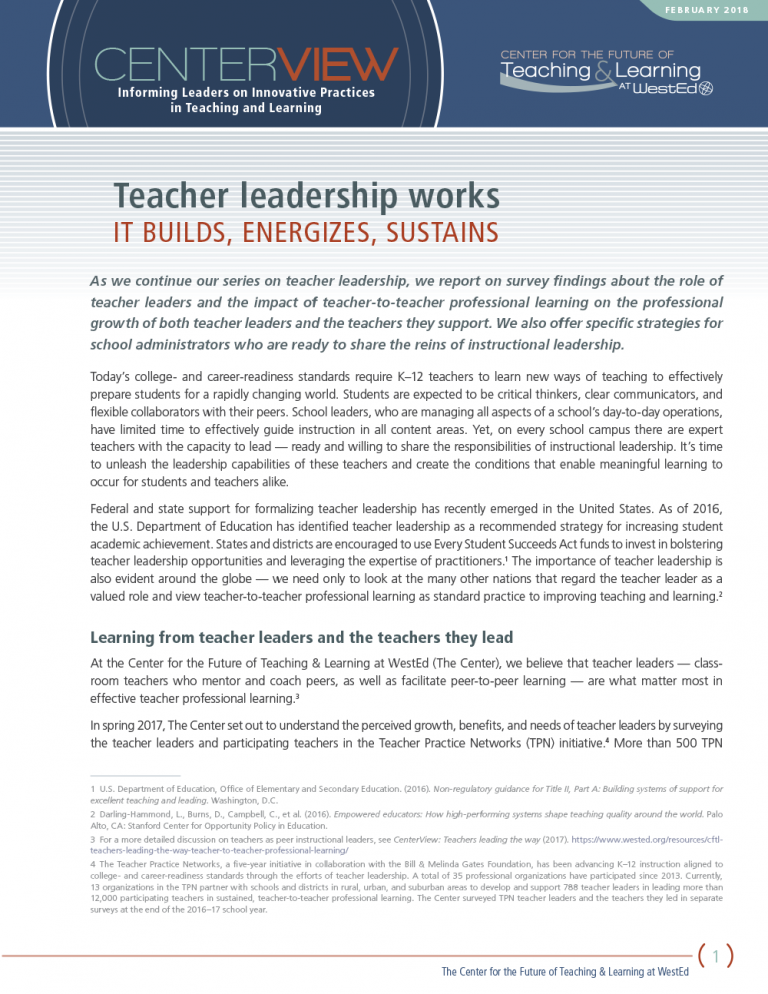 CenterView: Teacher Leadership Works – It Builds, Energizes, Sustains