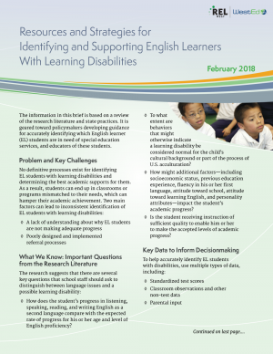 Strategies to Identify and Support English Learners with Learning Disabilities: Review of Research and Resources