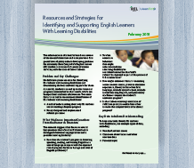 Resources and Strategies for Identifying and Supporting English Learners with Learning Disabilities
