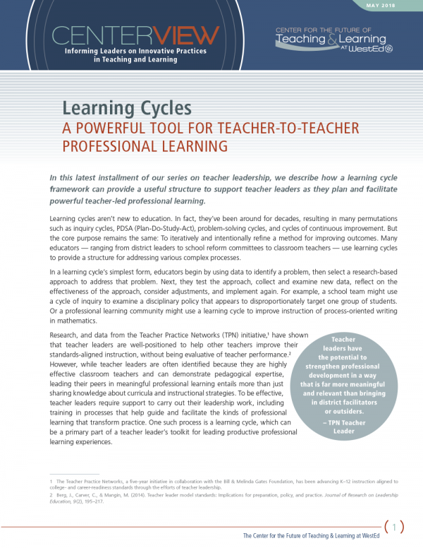 CenterView: Learning Cycles: A Powerful Tool for Teacher-to-Teacher Professional Learning