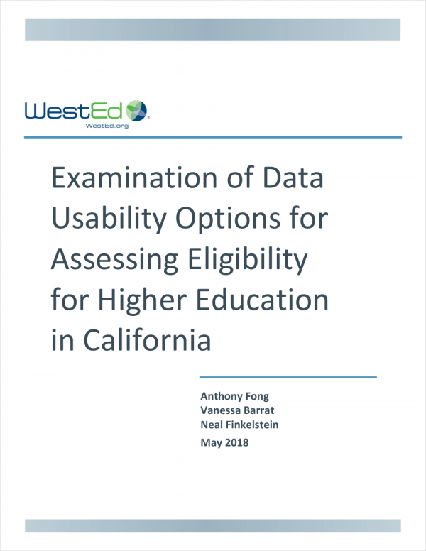 Examination of Data Usability Options for Assessing Eligibility for Higher Education in California