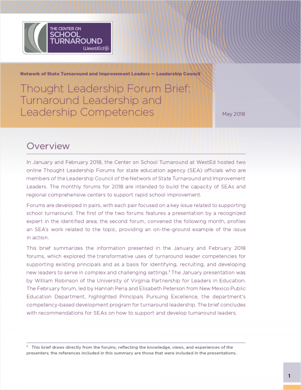 Thought Leadership Forum Brief: Turnaround Leadership and Leadership Competencies