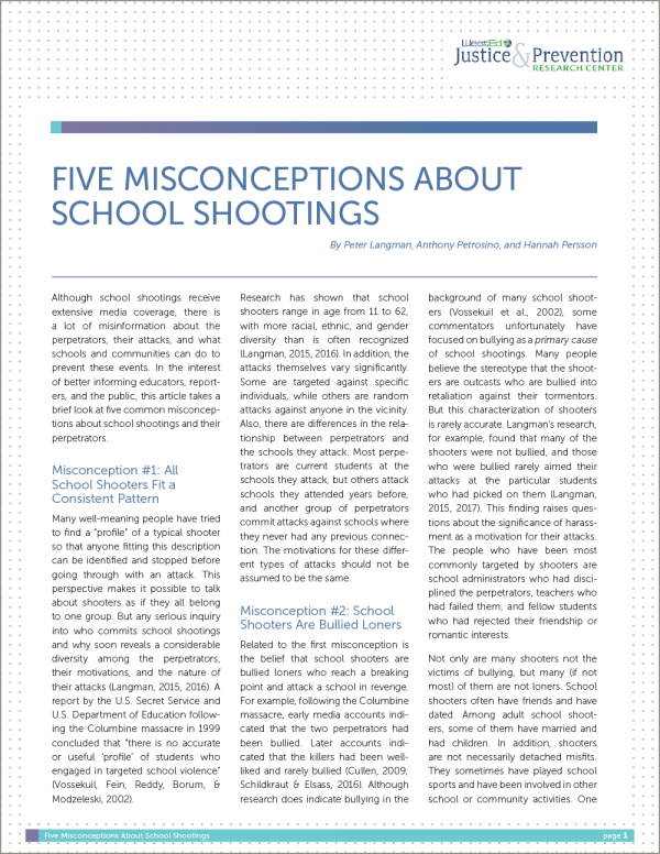 Five Misconceptions About School Shootings