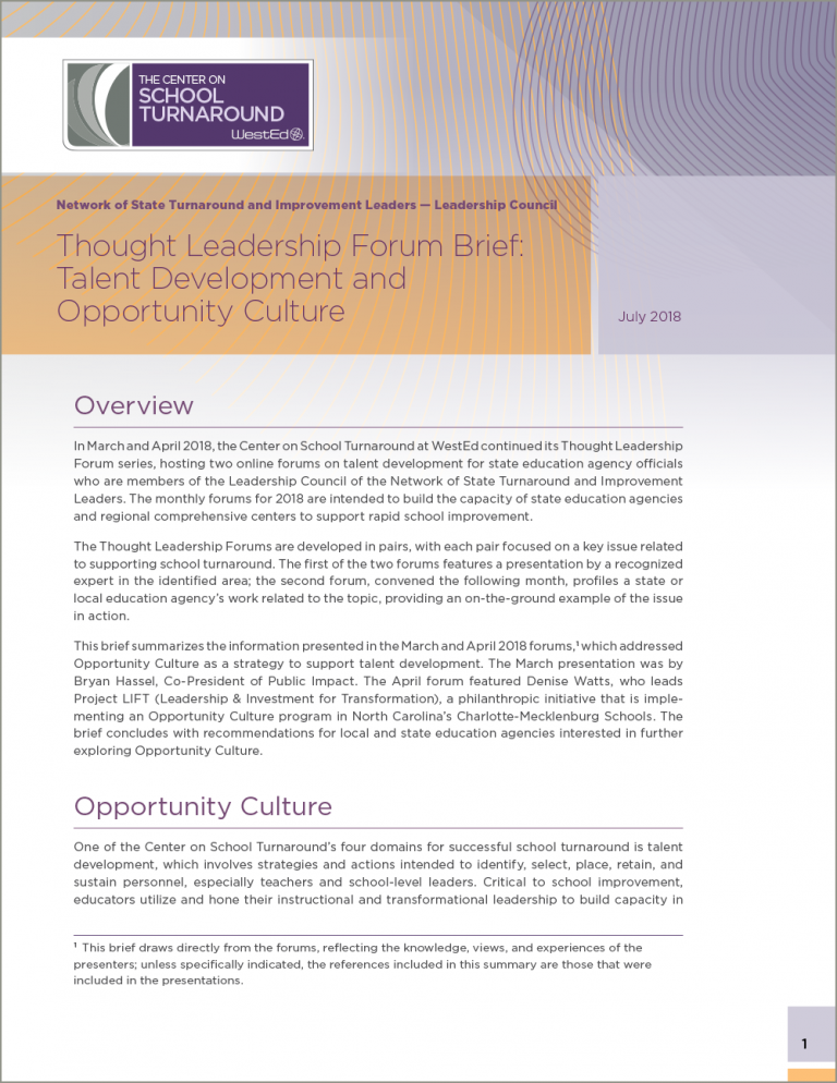 Thought Leadership Forum Brief: Talent Development and Opportunity Culture