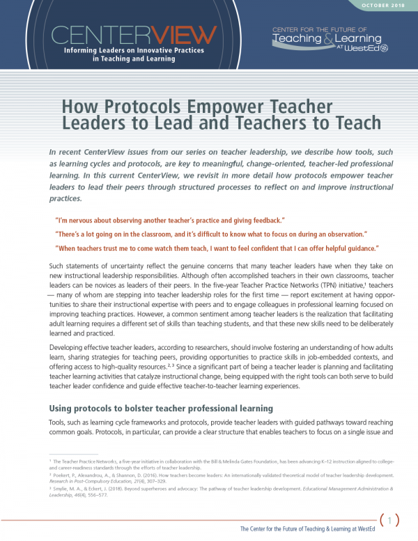 CenterView: How Protocols Empower Teacher Leaders to Lead and Teachers to Teach