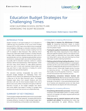 Education Budget Strategies for Challenging Times: How California School Districts Are Addressing the Silent Recession (Executive Summary)