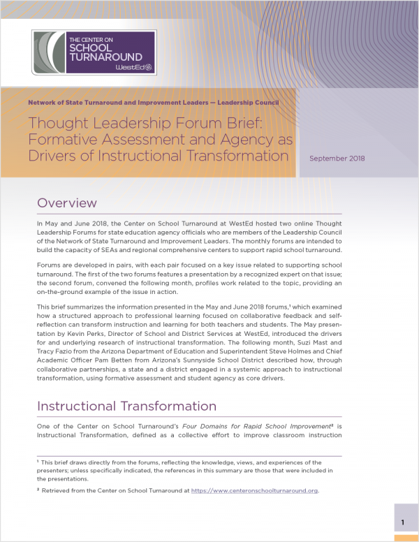 Thought Leadership Forum Brief: Formative Assessment and Agency as Drivers of Instructional Transformation