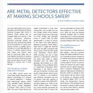 Are Metal Detectors Effective at Making Schools Safer?