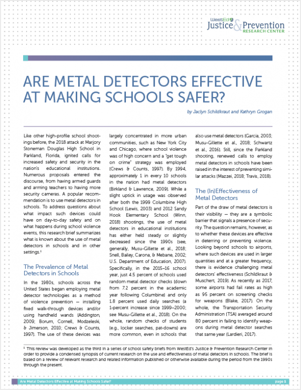 Are Metal Detectors Effective at Making Schools Safer? — WestEd
