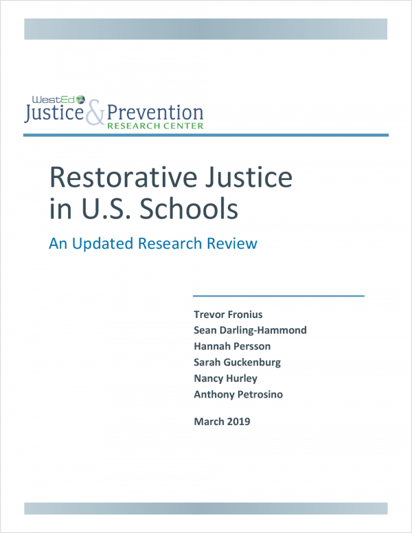 Restorative Justice in U.S. Schools: An Updated Research Review