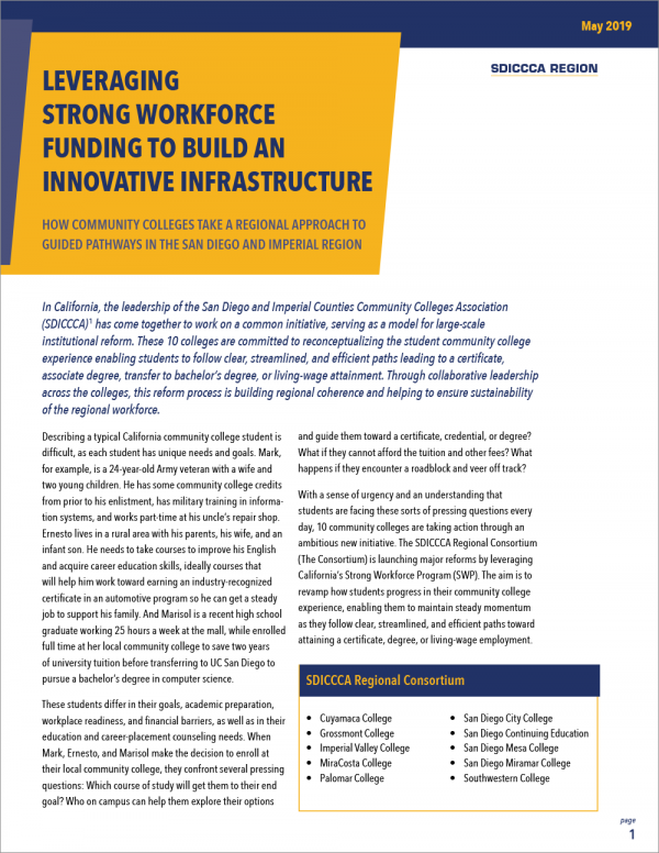 Leveraging Strong Workforce Funding to Build an Innovative Infrastructure: How Community Colleges Take a Regional Approach to Guided Pathways in the San Diego and Imperial Region