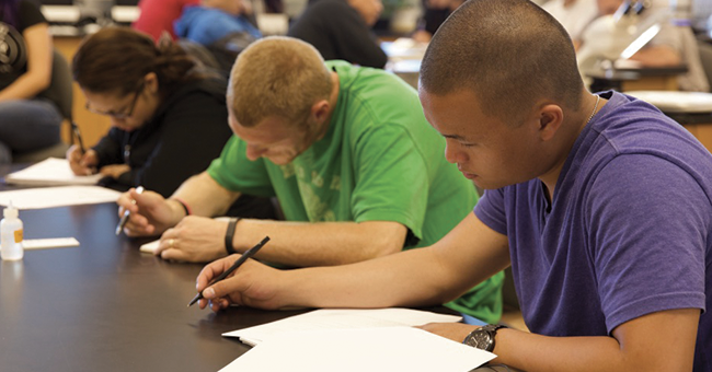 Students working in classroom