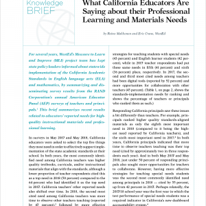 What California Educators Are Saying about their Professional Learning and Materials Needs